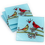 Cardinals Tempered Glass Coasters - set of 4 (Available with or without coaster rack)