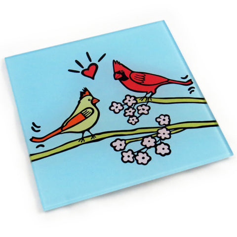 Cardinals Tempered Glass Trivet