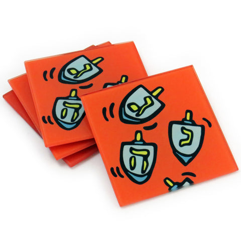 Dreidl Tempered Glass Coasters - set of 4 (Available with or without coaster rack)