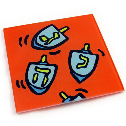 Dreidl Tempered Glass Trivet