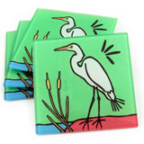 Egret Tempered Glass Coasters - set of 4 (Available with or without coaster rack)