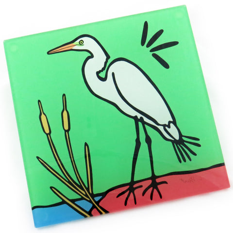 Egret Tempered Glass Trivet