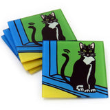 Tuxedo Cat/Black & White Cat Kitten Tempered Glass Coasters - Set of 4 (Available with or without coaster rack)
