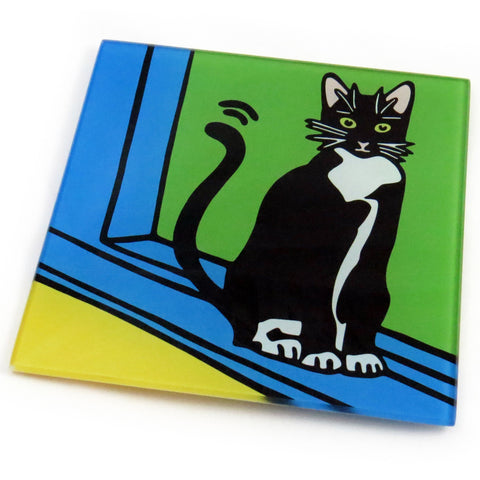 Tuxedo Cat/Black and White Cat/Kitten Tempered Glass Trivet