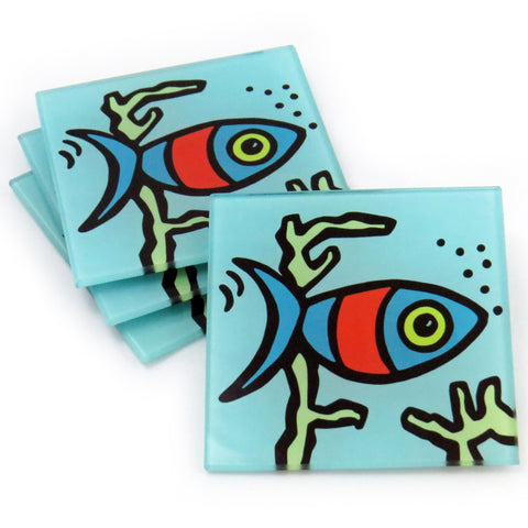 Fish Tempered Glass Coasters - Set of 4 (Available with or without coaster rack)