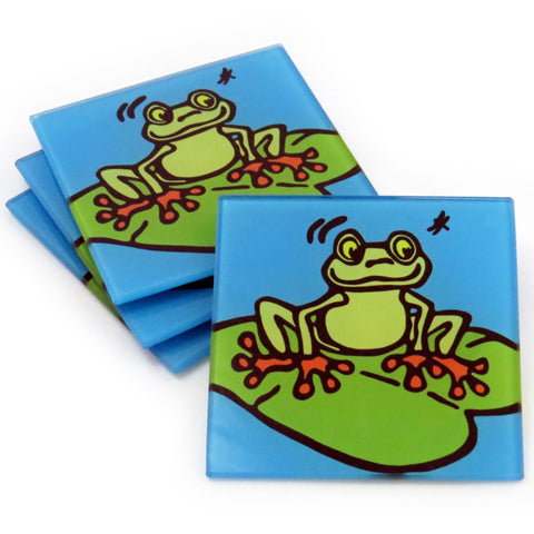 Frog Tempered Glass Coasters - Set of 4 (Available with or without coaster rack)