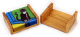 Boston Terrier Puppy/Dog Tempered Glass Coasters - Set of 4 (Available with or without coaster rack)