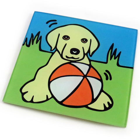 Yellow Labrador Retriever (Yellow Lab) Puppy/Dog Tempered Glass Trivet