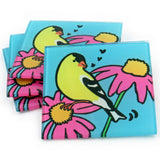 Goldfinch Tempered Glass Coasters - set of 4 (Available with or without coaster rack)