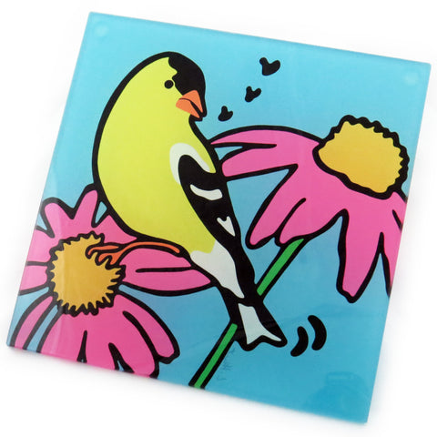 Goldfinch Tempered Glass Trivet