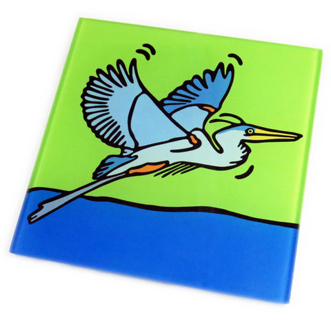 Great Blue Heron Tempered Glass Trivet