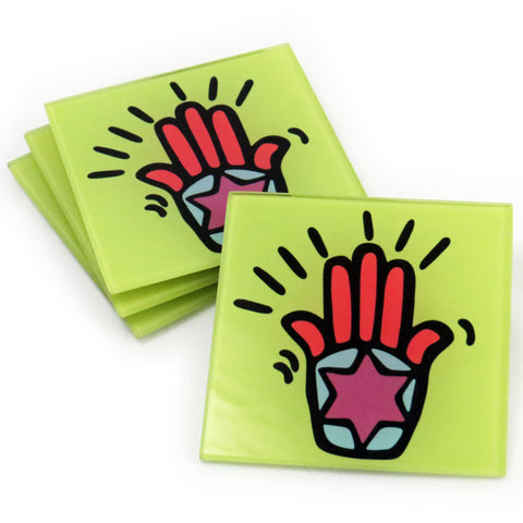 Hamsa Tempered Glass Coasters - Set of 4 (Available with or without coaster rack)