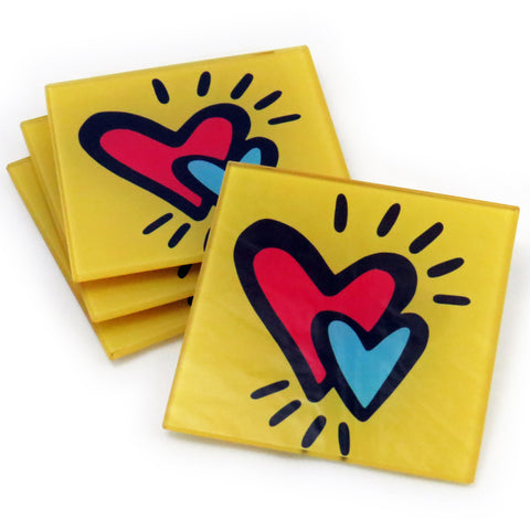 Hearts Tempered Glass Coasters - Set of 4 (Available with or without coaster rack)