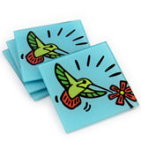Hummingbird Tempered Glass Coasters - Set of 4 (Available with or without coaster rack)