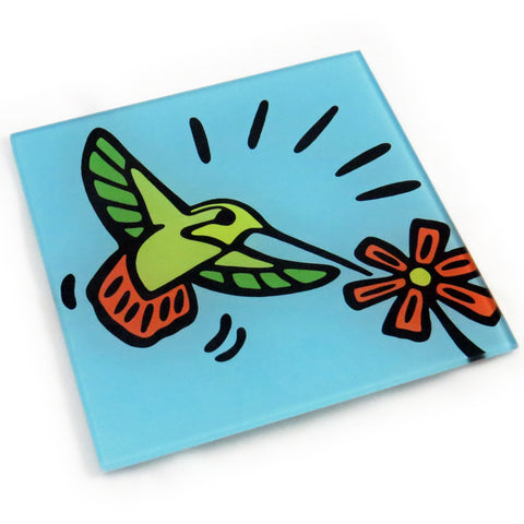 Hummingbird Tempered Glass Trivet