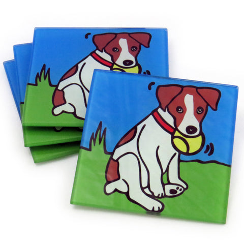 Jack Russell Terrier Dog/Puppy Tempered Glass Coasters - Set of 4 (Available with or without coaster rack)
