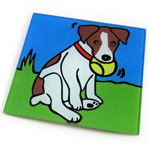 Jack Russell Terrier Dog/Puppy Tempered Glass Trivet