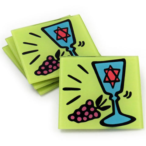 Kiddush Cup Tempered Glass Coasters - Set of 4 (Available with or without coaster rack)