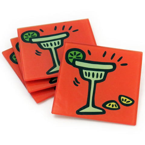 Margarita Tempered Glass Coasters - Set of 4 (Available with or without coaster rack)