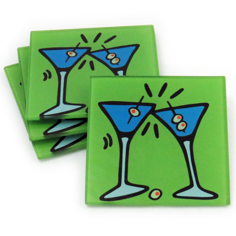 Martini Tempered Glass Coasters - Set of 4 (Available with or without coaster rack)