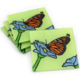 Monarch Butterfly Tempered Glass Coasters - Set of 4 (Available with or without coaster rack)