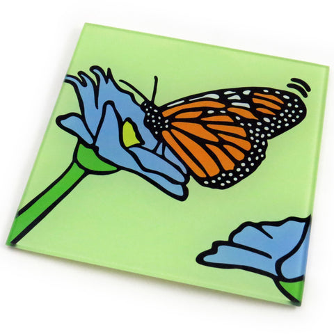Monarch Butterfly Tempered Glass Trivet