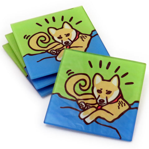 Shiba Inu Dog/Puppy Tempered Glass Coasters - Set of 4 (Available with or without coaster rack)