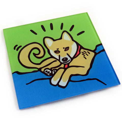Shiba Inu Dog/Puppy Tempered Glass Trivet