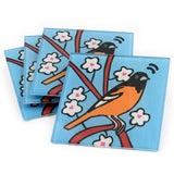Oriole Tempered Glass Coasters - set of 4 (Available with or without coaster rack)