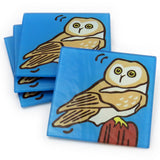 Owl Tempered Glass Coasters - set of 4 (Available with or without coaster rack)