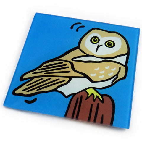 Owl Tempered Glass Trivet