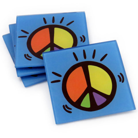 Peace Tempered Glass Coasters - Set of 4 (Available with or without coaster rack)