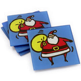 Santa Tempered Glass Coasters - set of 4 (Available with or without coaster rack)