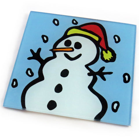 Snowman  Tempered Glass Trivet