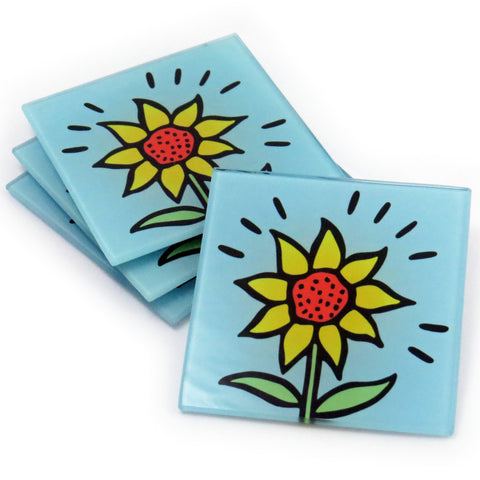 Sunflower Tempered Glass Coasters - Set of 4 (Available with or without coaster rack)
