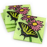 Tiger Swallowtail Butterfly Tempered Glass Coasters - Set of 4 (Available with or without coaster rack)