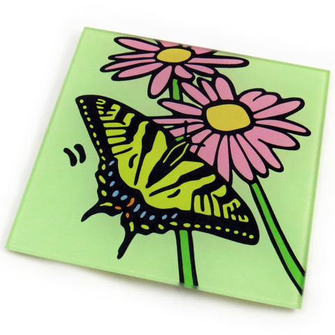 Tiger Swallowtail Butterfly Tempered Glass Trivet