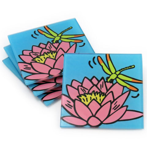 Waterlily Tempered Glass Coasters - Set of 4 (Available with or without coaster rack)
