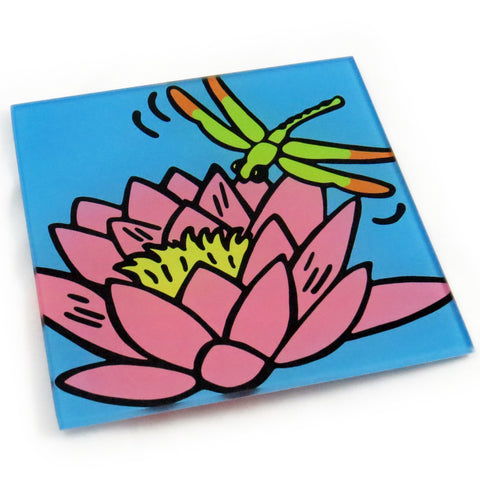 Waterlily Tempered Glass Trivet