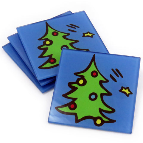 Christmas Tree Tempered Glass Coasters - set of 4 (Available with or without coaster rack)