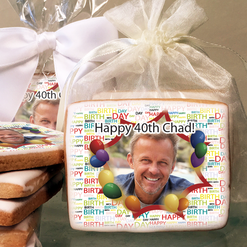 10001 Birthday Starburst Custom Photo Cookie