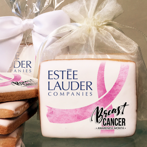 "Customized Breast Cancer Awareness Cookies with Pink ""Water Color"" Ribbon"