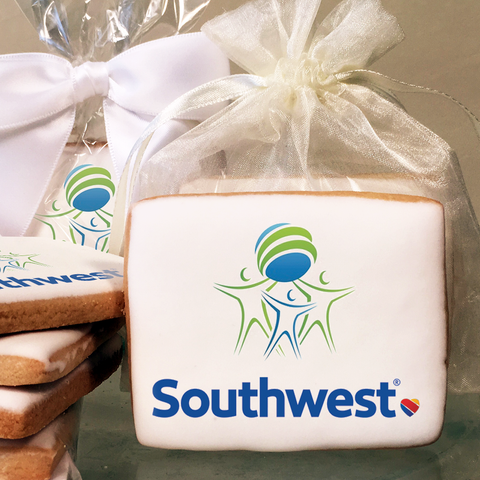 Custom Rectangular Customer Service Week Logo Cookies