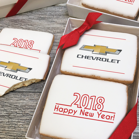 2018 happy new year logo cookie gift box 3 sizes