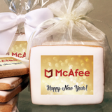 Glitzy Happy New Year Rectangle Logo Cookies