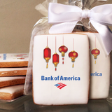 Chinese New Year Lantern Rectangle Logo Cookies in Cello Wrap