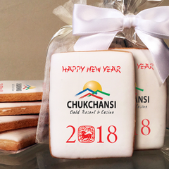 Chinese New Year of the Dog Rectangle Logo Cookies in Cello Wrap