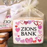 Valentine's Day Hearts & Hearts Rectangle Logo Cookies in Cello Wrap