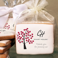 Valentine's Day Growing Hearts Tree Rectangle Logo Cookies in Cello Wrap