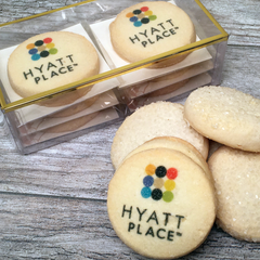 2 Custom Logo Cookie Emblems with 4 Shortbreads Gift Box